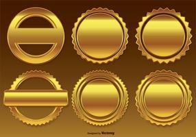 Conjunto dourado de crachás / etiquetas