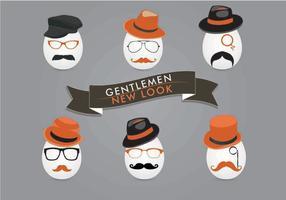 Vetores de rosto de cavalheiro