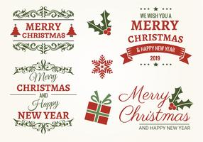 Typographic Christmas Label Set