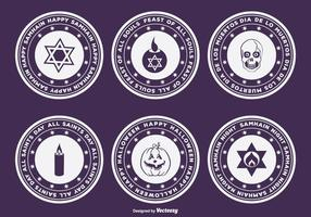 Halloween, samhain, dia de muertos badges