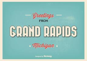 Grand Rapids Michigan Retro Greeting Illustration