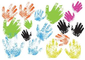 Vectores de impresión de mano de niño