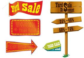 Vetores de sinal de venda de quintal
