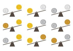 See Saw Money Concept Vectors