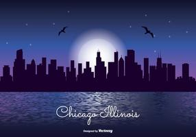 Chicago Night Skyline Illustratie