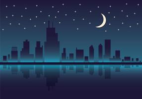 Free Chicago Skyline Night Vector Illustration