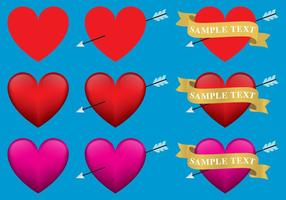 Hearts With Ribbons vector