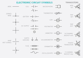 Vetores do símbolo do circuito eletrônico