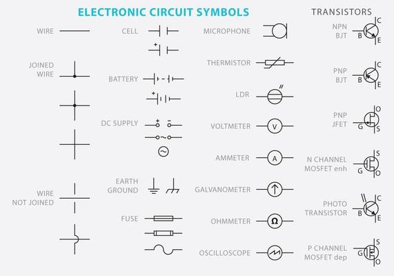 Electronic Circuit Symbol Vectors 97141, Electronic Wiring Schematic Symbol