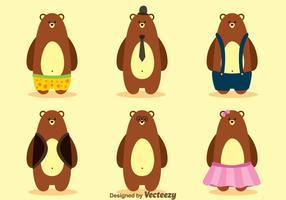 Vector de oso con la ropa