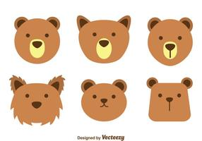 Vetores de rosto de urso marrom