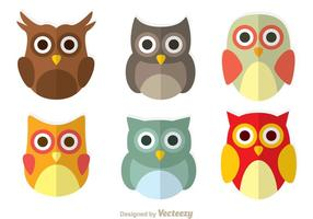 Cute Owl Flat Icons vector