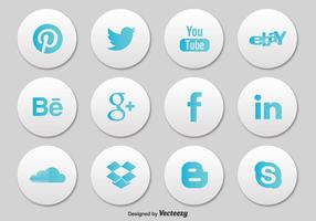 Conjunto de ícones de botões de mídia social