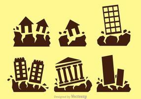 Iconos del vector de terremoto