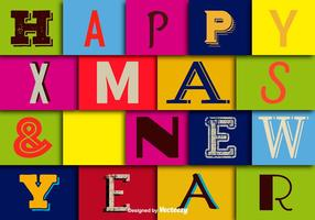 Happy christmas and happy new year wallpaper vector