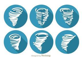 Iconos de la sombra larga del tornado