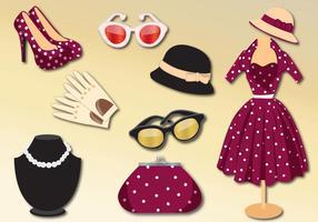 Conjunto de vector de ropa de mujer retro