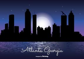 Atlanta Georgia Night Skyline Illustration