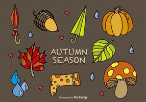 Cartoon autumn elements