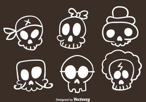 Iconos del bosquejo del cráneo del vector