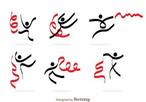 Gymnast With Ribbon Icons