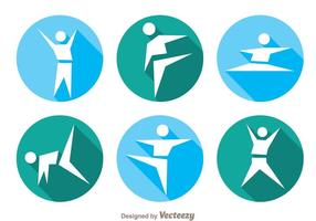 Vector gimnasta iconos