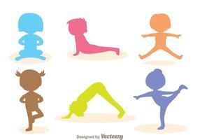 Vector niños gimnasta silueta
