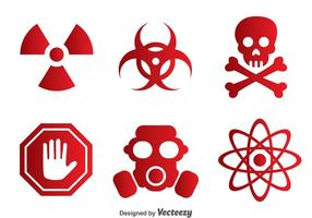Ícones vermelhos tóxicos do vetor