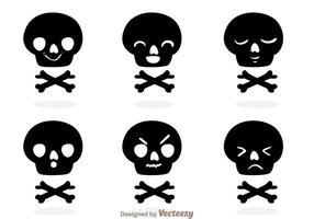 Vecteurs drôles de silhouette de crâne