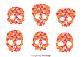 Siluetas coloridas del cráneo del vector