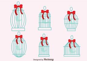 Jaula de pájaros de la vendimia con vectores de la cinta