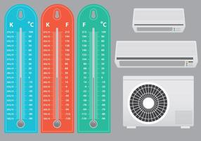 Air Conditioner With Thermometer Vectors