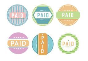 Vectores coloridos pagados etiqueta