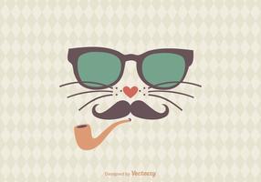 Hipster Cat Vector Illustration