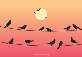 Gratis Vogels Op Draden Vectorillustratie