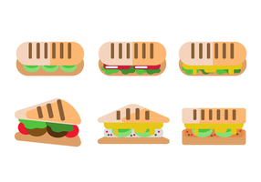 Panini sandwich flat vector set