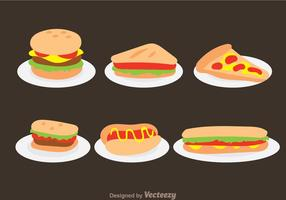 Fast Food On Plate Vectors