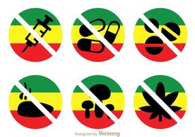 No Drugs With Rasta Colors Icons vector