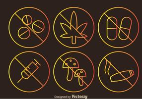 No Drugs Outline Sign Icons