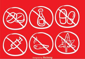 No Drugs Sketch Draw Icons vector