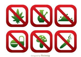 No Drugs Round Square SIgn Icons vector