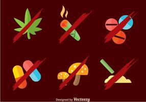 No Drugs Flat Sign vector
