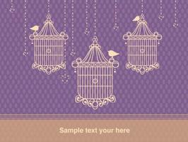 Background with Bird Cage Vintage Style vector