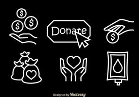 Donate witte vector iconen