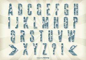 Conjunto retro do alfabeto do estilo grunge