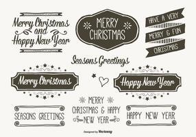 Etiquetas dibujadas a mano de la Navidad del estilo