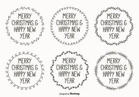 Etiquetas engomadas dibujadas mano lindas de la Navidad del estilo