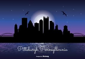 Pittsburgh Nacht Skyline Illustration
