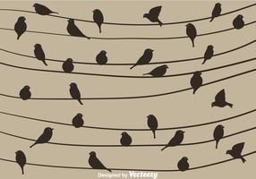 Fågel Silhuett På En Tråd Vektor
