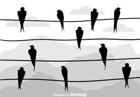 Swallow Silhouette On A Wire Vectors